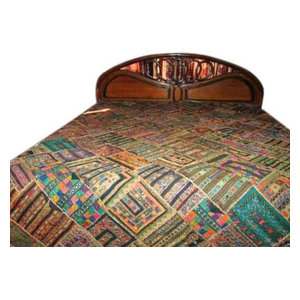 Mogul Inteior - Bedspread- Kutch Embroidery Ethnic India Bedding Coverlet Tapestry Throw - Quilts And Quilt Sets