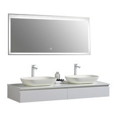 Aquamoon Dylan Double Modern Vanity With LED Mirror, White, 60""