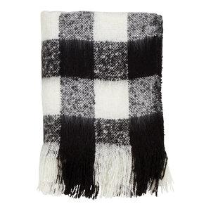 "Holiday Buffalo Plaid Faux Mohair Fringe Throw Blanket - 50"" x 60"", Black"