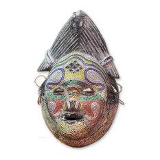 Handmade Kindly River Goddess Congolese wood African mask - Ghana