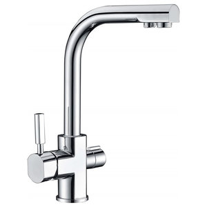 Kitchen Sink Tap, Solid Brass With Dual Levers and Swivel Spout, Modern Design