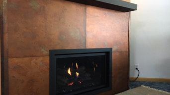 HALL Fireplace & Custom Stoll Metal Wall Installation