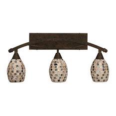 "Toltec Lighting Bow 3-Light Bath Bar, Bronze, 6"" Sea Haze Seashell Glass"