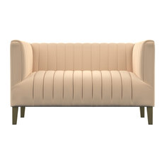 Straz Channel Tufted Loveseat, Nude Pink Velvet