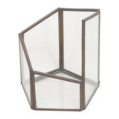 Pentagonal Illusion Glass and Brass Terrarium