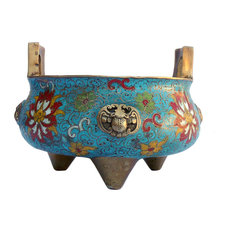 Chinese Bronze Turquoise Cloisonne Tri legs Incense Burner