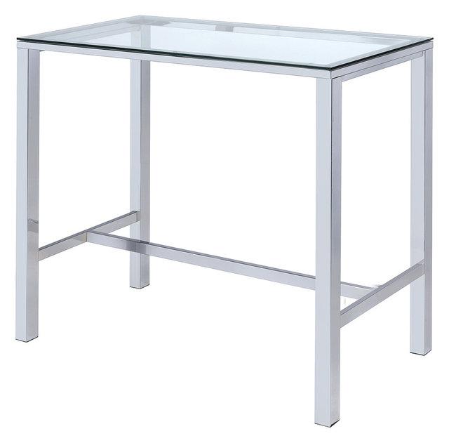 Rectangular Bar Table Clear Gl Top Steel Legs