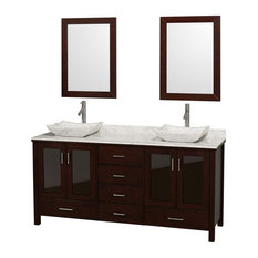 "Lucy 72"" Double Espresso Vanity, White Carrera Top and Sinks, 24"" Mirrors"