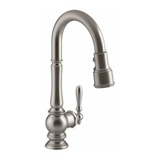 "Kohler Artifacts Single-Hole Kitchen Sink Faucet, 16"" Pull-Down Spout, Vibrant S"