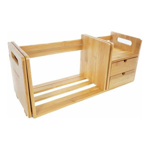 Bookshelf Organiser, Natural Bamboo Wood With Drawer Expandable and Adjustable