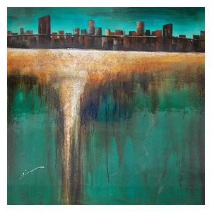 """TurquesaCidade"" Acrylic Painting, 100x100 cm"