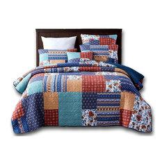 Bohemian Vibes Patchwork Floral Deep Blue & Burnt Orange Bedspread Set, Cal King