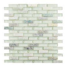 """11.75""""x11.75"""" Reflections Subway Mosaic Wall Tile, Ming"""