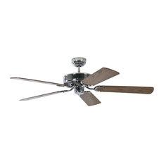 Potkuri Steel Ceiling Fan, Oak and Rattan Wicker