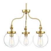 Progress Lighting Penn 3-Light Chandelier, Natural Brass