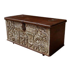 Sierra Living Concepts   Ornate Hand Carved Mango Wood Storage Trunk Coffee  Table   Coffee Tables