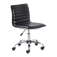 Btexpert Mid Back Armless Ribbed Task Leather Chair Black Upholstery And Chrome Office