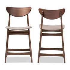 "Fabric Upholstered Walnut Wood, 24"" Counter Stool, Light Gray, Set of 2"
