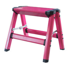 AmeriHome Lightweight Single Step Aluminum Step Stool, Bright Pink