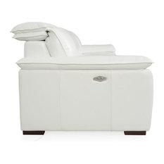 Yorbita Full Top Grain Leather Motorized Sofa Pure White