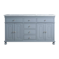 "Abigail Embellished 60"" Gray Double Sink Bathroom Vanity"