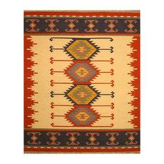 """Handmade Wool Keysari Kilim Rug, Ivory, 8'4""""x10'"""