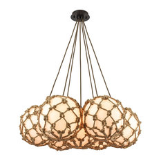 Nautical 7-Light Chandelier, Rope Wrapped, Oil Rubbed Bronze, Opal White Glass