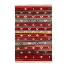 Red Tribal Wool Kilim Rug, Large