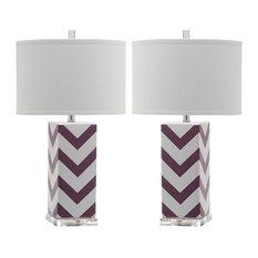 "Safavieh Chevron 27"" High Stripe Table Lamps, Set of 2, Purple"