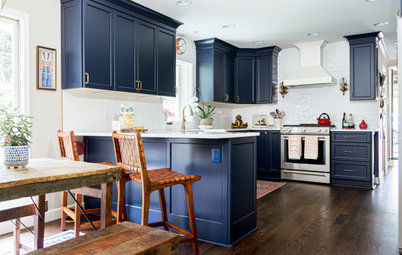 Kitchen of the Week: Deep Blue Cabinets and Eclectic Touches