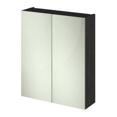 Bathroom Mirror Unit, Black, Full Mirror, 60 cm
