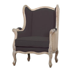 Guinevere Wingback Chair, Cafe Mocha and Burlap