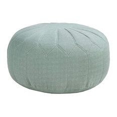 Mid Century Modern Pouf, Polystyrene Beads With Floral Stitched Cover, Grey