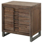 Acme Furniture - Andria Nightstand, Reclaimed Oak Finish - The Andria Nightstand features a reclaimed oak finish and a chic slatted element down the center of its front for a look that adds sophisticated edge to your design. Its clean lines and simplicity lend this Acme Furniture piece the versatility to be used in distinctly urban spaces as well as spaces that are a bit more subdued.