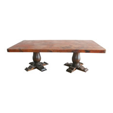 SM Rectangular Wooden Dining Table With Copper Top Dining Tables