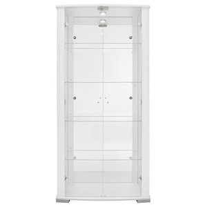Vitrine Display Cabinet With LED and Lock, 2 Door, 4 Shelves, White