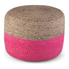 Simpli Home Lydia Braided Jute Round Ottoman in Pink and Natural