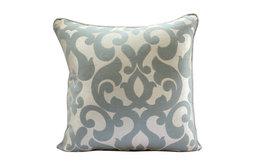 "Blue Gray Damask 26""x26"" Jacquard Weave Euro Pillow Shams, Forever Damask"