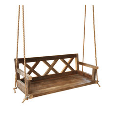 Grindstone Design - Farmhouse Porch Swing Made From Reclaimed Wood - Porch Swings