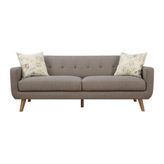 Emerald Home Remix Sofa With 2 Pillows, Brown