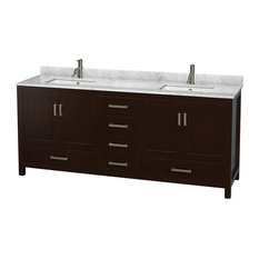 Double Bathroom Vanity, Countertop, Undermount Square Sinks, No Mirror, Espresso