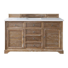 "Savannah 60"" Driftwood Single Vanity w/ 3cm Snow White Quartz Top"