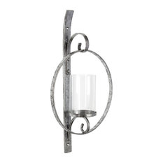 Kate and Laurel Doria Metal Wall Candle Holder Sconce, Silver