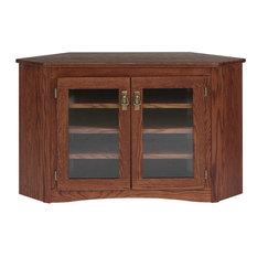 Mission Style Solid Oak Corner TV Stand Golden Oak