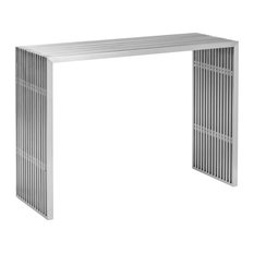 Modern Designer Brushed Stainless Steel Console Table