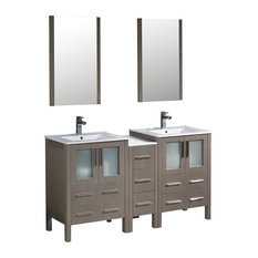Fresca Torino Double Sink Vanity, Side Cabinet and Integrated Sinks, Mirrors
