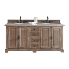 """72"""" Double Vanity Cabinet, Driftwood, No Counter Top"""