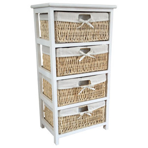 Home Vida Maize Storage Unit, White, 4 Drawers