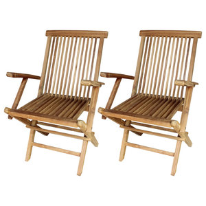 vidaXL Set of 2 Teak Garden Chairs, 55x60x89 cm