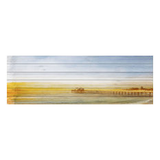 """Malibu Pier"" Print on White Wood, 60""x20"""